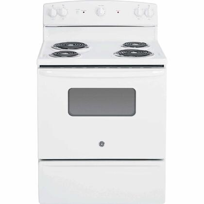 "GE JBS10XXXX 30"" 5.0 cu. ft. Oven Capacity Free-Standing Electric Range, Backsplash Controls, Standard Clean Oven, Coil Heating Elements, Duel-Element Bake, Storage Drawer, in X"