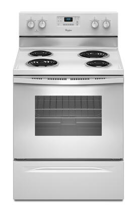"""Whirlpool WFC310S0AW 30"""" Electric Freestanding Range with Coil Element Cooktop, 4.8 cu. ft. Primary Oven Capacity, Storage in White"""