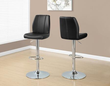 """Monarch I 233X 44"""" 2 PCS Barstool with Hydraulic Lift, Faux Leather and Full Swivel Mechanism"""