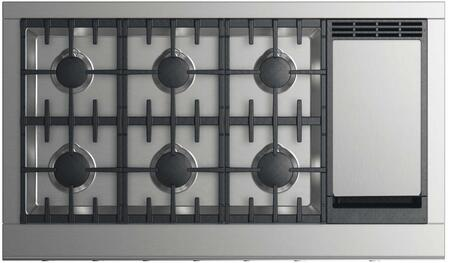 """DCS CPV2-486GD 48"""" Professional Cooktop with 6 Burners, Griddle, Easy to Clean, Sealed Dual Flow Burners, and Halo-Illuminated Cooktop Dials: Stainless Steel"""