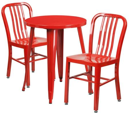 Flash Furniture CH51080TH218VRTREDGG Industrial Round Shape Patio Sets