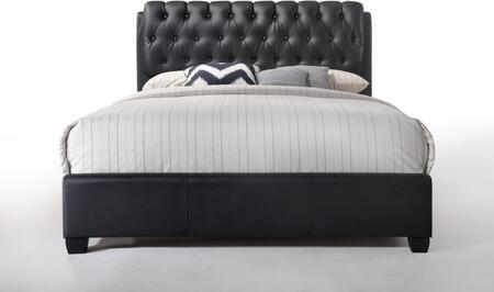 Acme Furniture Ireland Collection Bed with Button Tufted Headboard, Low Profile Footboard, Supported Slats and Bycast PU Leather Upholstery in