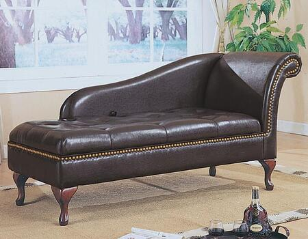 Monarch I8933 Contemporary Faux Leather Chaise Lounge