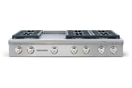 "American Range ARSCT-486GD 48"" Legend Series Slide-In Gas Rangetop with 6 Sealed Burners, 11"" Griddle, Automatic Electronic Ignition and Commercial Grade Cast Iron Grates in Stainless Steel:"
