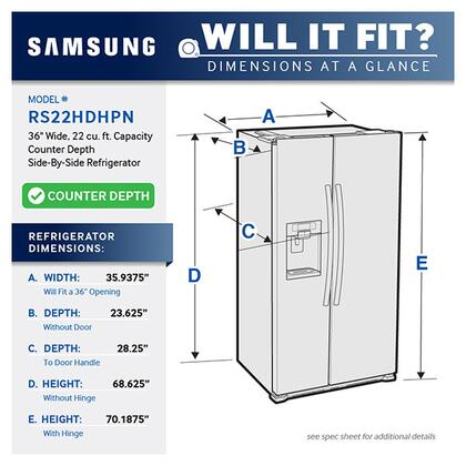 Samsung RS22HDHPNWW 36 Inch Counter Depth Side by Side