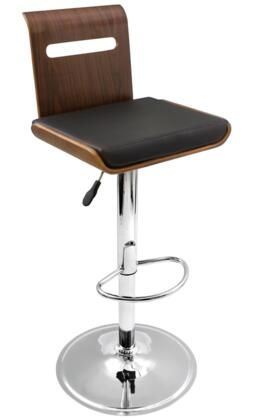 "LumiSource Viera BS-JY-VIERA 34"" - 42"" Barstool with 360 Degree Swivel, Footrest and Bent Wood in"