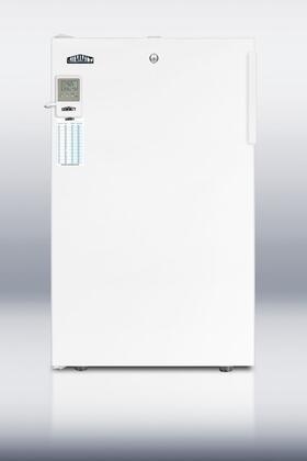 "Summit FF511LBI7MEDD 20"" Medical Use Refrigerator with 4.1 cu. ft. Capacity, Factory Installed Lock, High Temperature Alarm, Digital Thermostat, and Hospital Grade Chord in White: X Hinge"