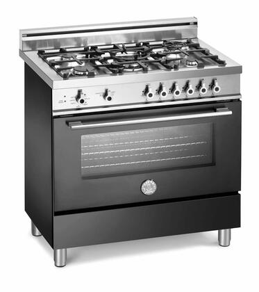 "Bertazzoni X365GGVNELP 36"" Professional Series Liquid Propane Freestanding Range with Sealed Burner Cooktop, 3.6 cu. ft. Primary Oven Capacity, Storage in Black"