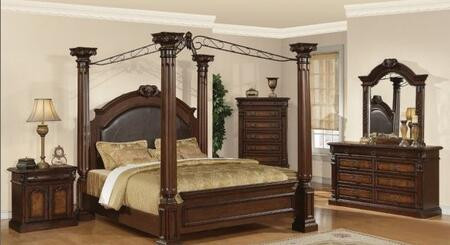 Yuan Tai JU2660 Juliet Canopy Poster Bed with Marble Detail in a Two Tone Cherry and Ash Burl Finish
