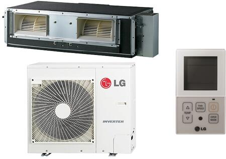 LG LHxx7HV Single Zone High Static Duct Mini Split System with Cooling Capacity, Heating Capacity, Inverter, Sleep Mode, Timer, and Control Lock