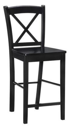 Linon 01710BLK-01-KD-U Black X Back Stool Series No Upholstered Bar Stool