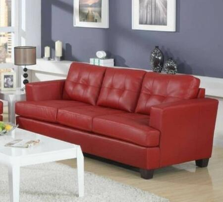 Yuan Tai 1083SRED Caleb Series Stationary Bonded Leather Sofa