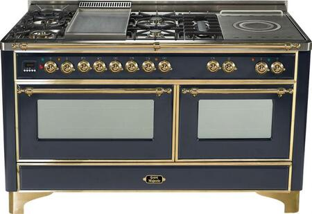 Ilve UM150FMPM Majestic Series Dual Fuel Freestanding Range with Sealed Burner Cooktop, 2.8 cu. ft. Primary Oven Capacity, Warming in Black