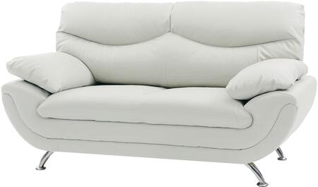 "Glory Furniture 67"" Loveseat with Chrome Legs, Medium Firm Seating, Padded Arms, Split Back Cushions and Faux Leather Upholstery in"