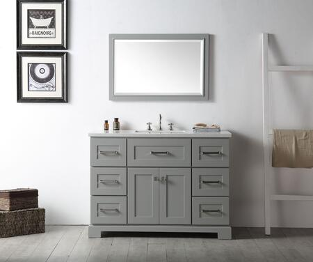 "Legion Furniture WH7648X 48"" Sink Vanity with 1 Inner Shelf, Ceramic Sink and 3 Pre-Drilled Faucet Hole"
