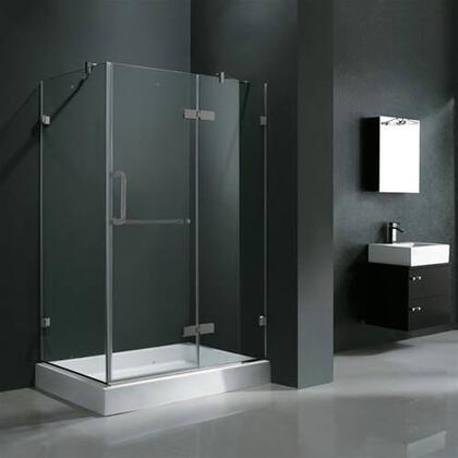"Vigo VG6011XXCL48WR 32"" x 48"" Frameless 3/8"" Shower Enclosure with Right Base:"