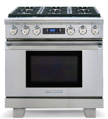 "American Range ARR366DFL 36"" Medallion Series Dual Fuel Freestanding Range with Sealed Burner Cooktop, 5.3 cu.ft. Primary Oven Capacity, in Stainless Steel"