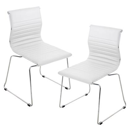 """LumiSource Master CH-MSTR Set of (2) 23"""" Stackable Chair with PU Leather Upholstery, Chrome Sleight Legs and Stackable Design in"""