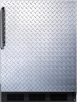 "Summit FF63BBIDPLADA 24"" FF63BBIADA Series Compact Refrigerator with 5.5 cu.ft. Capacity in Diamond Plate"