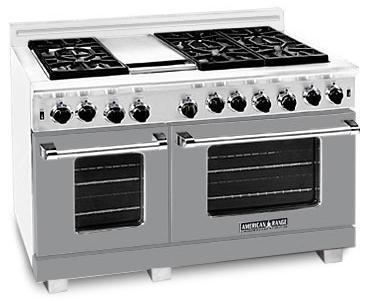 "American Range ARR486GDMG 48"" Heritage Classic Series Gas Freestanding Range with Sealed Burner Cooktop, 4.8 cu. ft. Primary Oven Capacity, in Gun Metal"