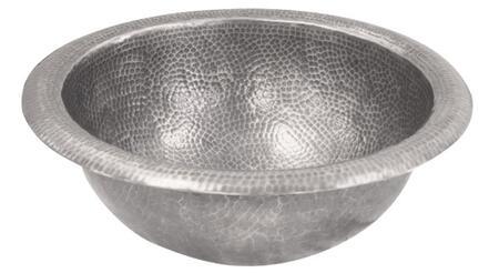 Medium Round Self Rimming Basin: Hammered Pewter Finish (Regular View)