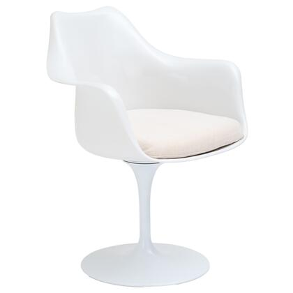 EdgeMod EM152WHI Daisy Series Modern Fabric Plastic Frame Dining Room Chair