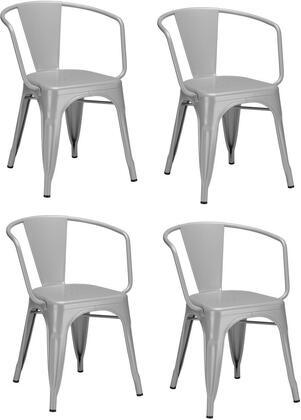 EdgeMod EM113GRYX4 Trattoria Series Modern Metal Frame Dining Room Chair