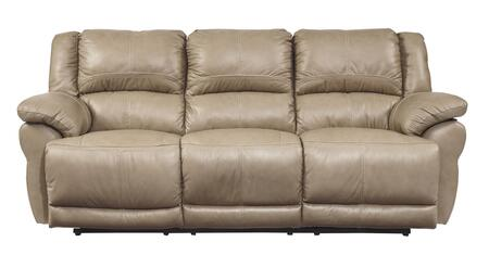 Signature Design by Ashley Lenoris U9890X87 Power Reclining Sofa with Pillow Top Arms, Metal Construction, Bustle Back Cushions and Headrest in