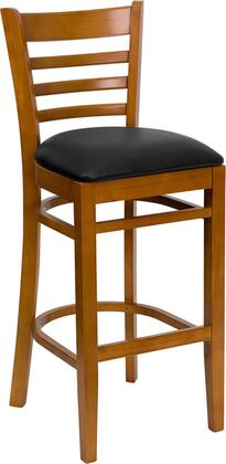 "Flash Furniture HERCULES Series XU-DGW0005BARLAD-CHY-XXV-GG 31"" Cherry Finished Ladder Back Wooden Restaurant Bar Stool with Vinyl Seat, Commercial Design, Foot Rest Rung, and Plastic Floor Glides"