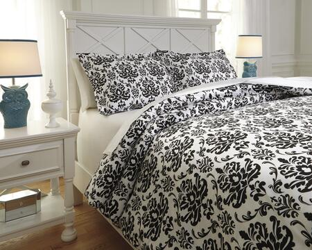 Signature Design by Ashley Alano Q730001 PC Size Duvet Cover Set includes 1 Duvet Cover and Standard Sham with Baroque Pattern and Cotton Material in Black Color