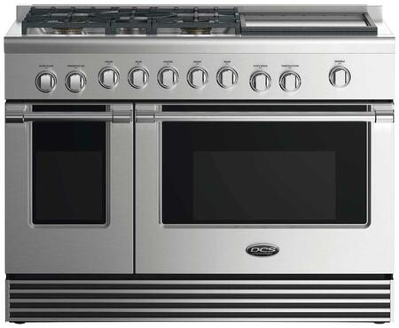 "DCS RDV2485GD 48"" Dual Fuel Range with 5 Sealed Dual Flow Burners, Griddle, 4.8 Cu. Ft. Main Oven Capacity, 2 Cu. Ft. Secondary Oven Capacity, 5 Shelf Positions, and 6 Oven Functions: Stainless Steel"