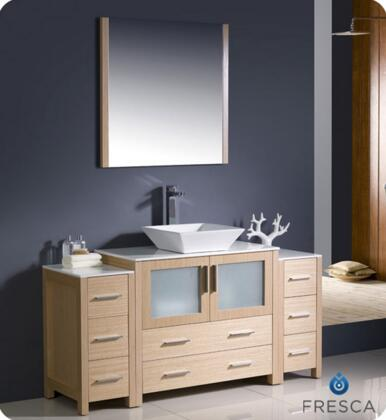 """Fresca Torino Collection FVN62-123612XX-VSL 60"""" Modern Bathroom Vanity with 2 Side Cabinets, 2 Frosted Glass Panel Soft Closing Doors and Vessel Sink in"""
