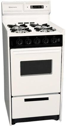 "Summit WLM1307KW 20"" Freestanding Gas Range with 4 Open Burners, 2.46 Cu. ft. Capacity, Manual Clean, Broiler Drawer, Clock w/ Timer, & Electronic Ignition, in"