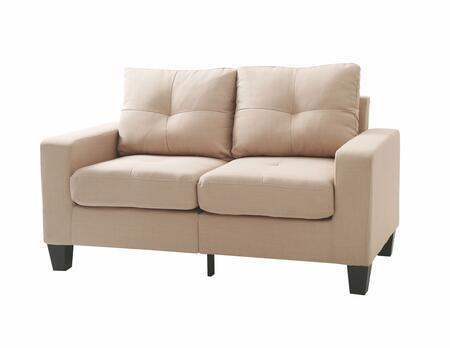 "Glory Furniture Newbury Collection 58"" Modular Loveseat with Tapered Legs, Dacron Wrapped Foam, Pocketed Coil Spring Seat Cushions, Track Arms and Twill Fabric Upholstery in"