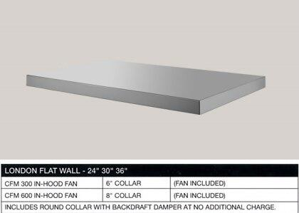 BlueStar BSLONDXSS London Flat Wall Mount Under Cabinet Range Hood with 3-Speed Control, High Heat Sensor, Halogen Lamps, Anodized Aluminum Mesh Filters, and Handcrafted Seamless Construction: Stainless Steel