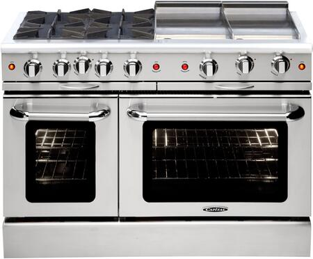 "Capital MCOR484GGL 48"" Culinarian Series Gas Freestanding Range with Sealed Burner Cooktop, 4.9 cu. ft. Primary Oven Capacity, in Stainless Steel"