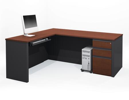 Bestar Furniture 99879 Prestige + L-shaped workstation including assembled pedestal
