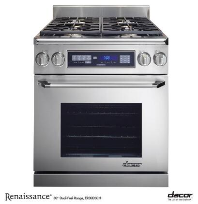 "Dacor Renaissance ER30DSR 30"" Slide-In Dual Fuel Range with High Altitude, 4 Sealed Gas Burners, 3.9 cu. ft. Convection Oven, Chrome Trim: Stainless Steel"