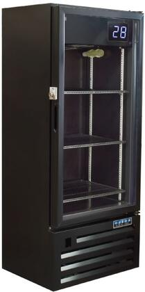 Ojeda RVxPx22 Glass Door Beer Merchandiser Cooler with Care Free Condenser, Steel Construction, Big Blue External Temperature Readout and Hot Gas Evaporator, in Black