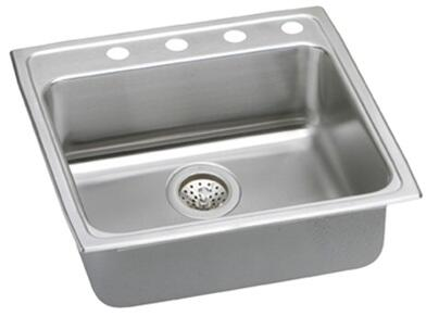 "Elkay LRADQ222255 Gourmet Lustertone Stainless Steel 22"" x 22"" Single Basin Top Mount Kitchen Sink:"