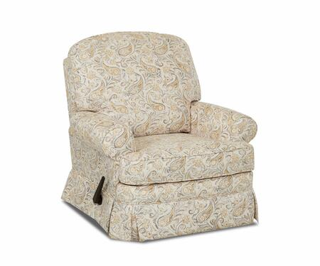 "Klaussner Bingham Collection N-7H-SGRC- 36"" Swivel Gliding Reclining Chair with Tailored Skirt, Roll Arms and Fabric Upholstery in"