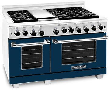 American Range ARR486GRDB Heritage Classic Series Natural Gas Freestanding Range with Sealed Burner Cooktop, 4.8 cu. ft. Primary Oven Capacity, in Dark Blue