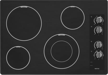 """Maytag MEC7430B 30"""" Smoothtop Electric Cooktop With 4 Radiant Elements, 3,200 Watt Speed Heat Element, Dual-Choice Element, Hot Surface Indicator and Ceramic Glass Top"""