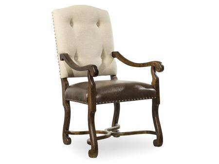 "Hooker Furniture Treviso Series 5474-755 42.75"" Dining Room Camelback Chair with Button Tufting, Nail Head Accents and Bonded Leather and Fabric Upholstery in Rich Tobacco"