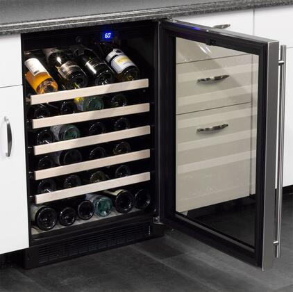 """Marvel ML24WSG0x 24"""" Single Zone Standard Efficiency Wine Cooler with 6.4 cu. ft. Capacity or 45 Bottle Capacity, Dynamic Cooling Technology, Vibration Neutralization System, UV Resistant Glass Door, in"""