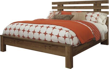 Milo Italia Rhodes BR-529PLBED Size Platform Bed with Block Feet, Open Slat Design Headboard and Replicated Oak Grain Construction in Medium Brown Finish