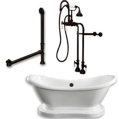 "Cambridge ADESPED398684PKG Acrylic Double Ended Pedestal Slipper Bathtub 68"" x 28"" with No Faucet Drillings and Complete Plumbing Package"