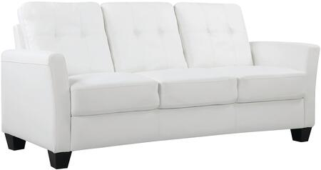 "Glory Furniture 76"" Sofa with Tapered Legs, Removable Back, Track Arms, Tufted Back, Pocket Coil Seating and Faux Leather Upholstery in"