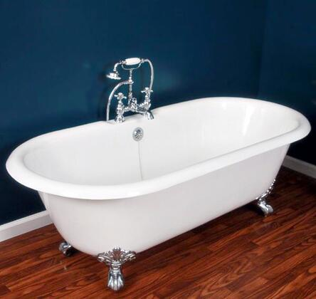 """Cambridge DE67NH Cast Iron Double Ended Clawfoot Tub 67"""" x 30"""" with No Faucet Drillings"""