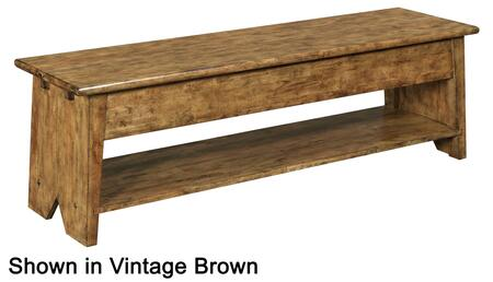 """Broyhill New Vintage 480X-596 58"""" Wide Lift Top Storage Bench with Bottom Shelf, Distressing Details and Wood Seat in"""